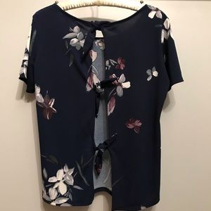 2/$20 DYNAMITE blue floral top with back ties